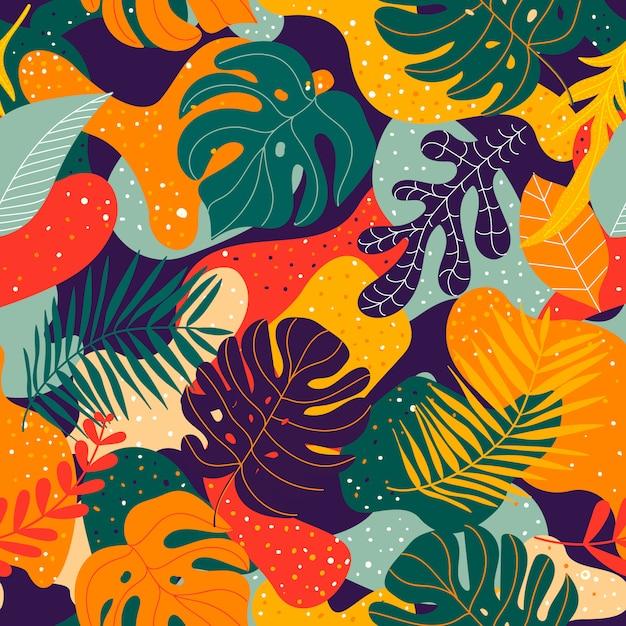Бесшовный экзотический узор с тропическими растениями Premium векторы