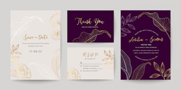 結婚式招待状カードテンプレートセット。 Premiumベクター