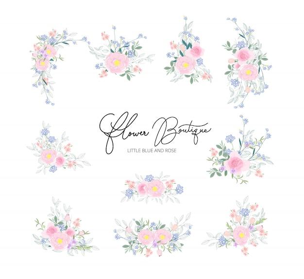 Вектор цветочный дизайн букета для свадьбы Premium векторы