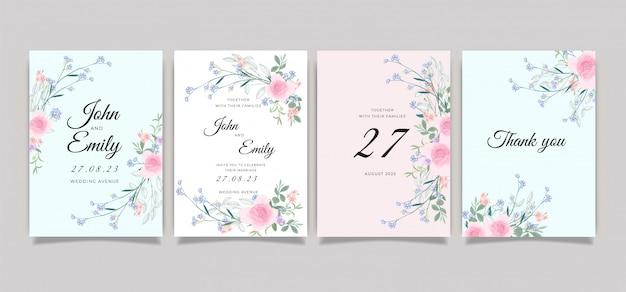Коллекция шаблонов приглашения на свадьбу Premium векторы