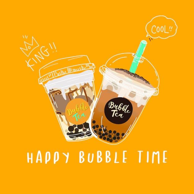 Чай пузыря, жемчужный чай с молоком каракули стиль баннер. Premium векторы