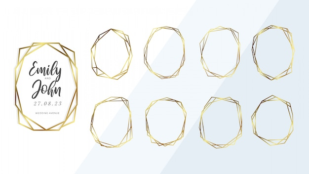 黄金の幾何学的なフレームのコレクション。 Premiumベクター