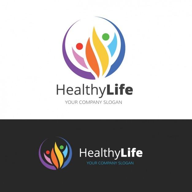 健康的なライフスタイルについてのロゴ 無料ベクター