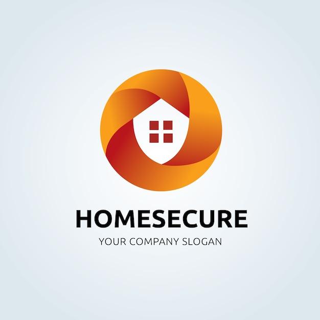 ホームセキュリティシステムのロゴ。ウェブサイト、モバイルアプリ、バナーの保護アイコン。ベクトル図。 Premiumベクター