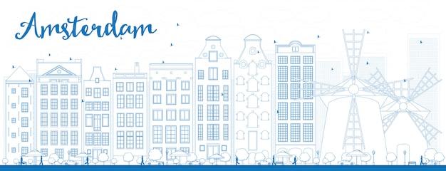 Контур города амстердам с голубыми зданиями Premium векторы