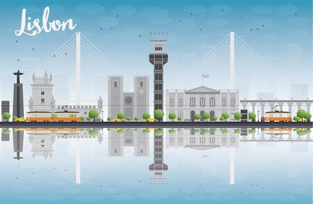 Горизонт города лиссабона с серыми зданиями и голубым небом Premium векторы