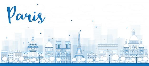 Контур горизонта парижа с синими достопримечательностями Premium векторы