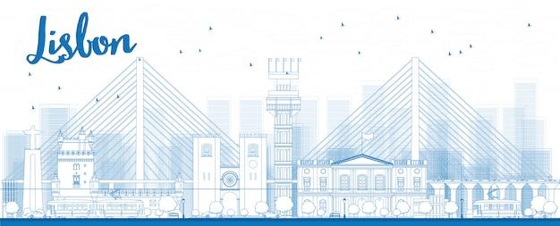 Горизонт города лиссабона с голубыми зданиями Premium векторы