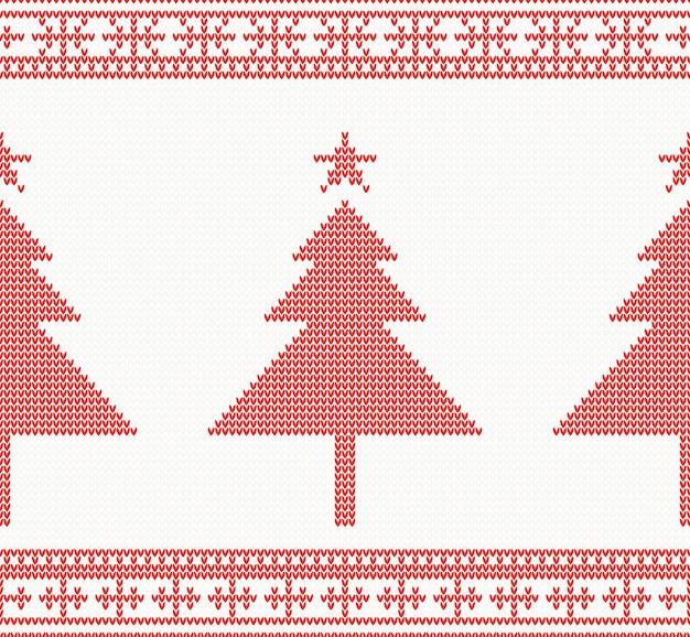 Рождество вязаный бесшовный фон с деревом. Premium векторы