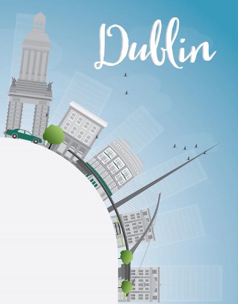灰色の建物、青い空とコピースペース、アイルランドのダブリンのスカイライン Premiumベクター