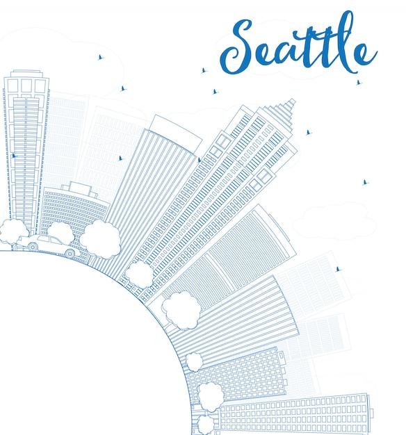 青い建物とコピースペースとシアトル市のスカイラインの概要 Premiumベクター