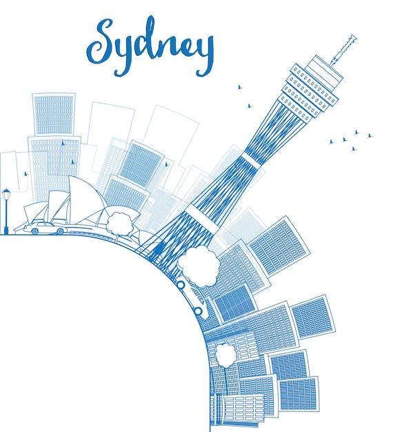 シドニー市のスカイラインの高層ビルとコピースペースの概要 Premiumベクター