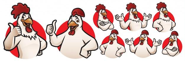 ロゴコレクションの漫画オンドリとチキンのマスコット Premiumベクター