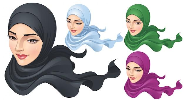 ヒジャーブとイスラム教徒の女性 Premiumベクター