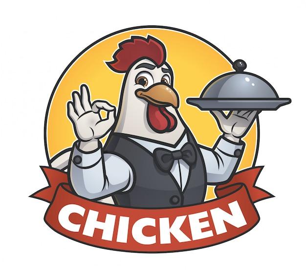 チキンウェイターズイラストロゴ Premiumベクター