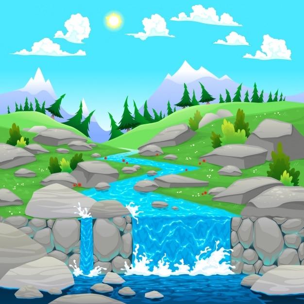 自然風景の背景デザイン 無料ベクター