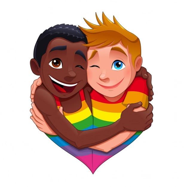 このようにして生まれおかしいゲイのカップルのベクトル分離された文字 無料ベクター