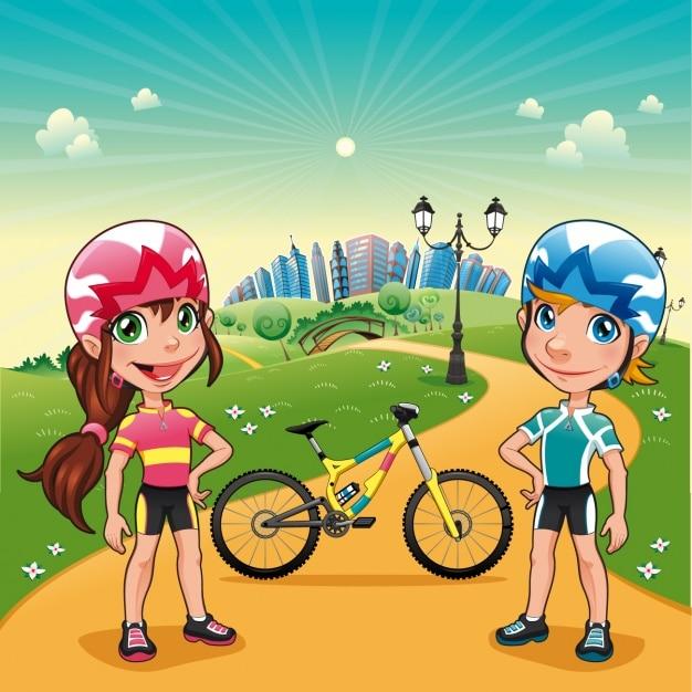 カップル練習サイクリング 無料ベクター
