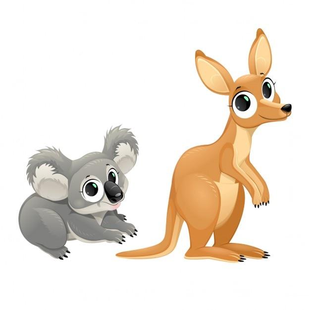 Смешные сумчатые коала и кенгуру вектор мультфильмов изолированных символов Бесплатные векторы