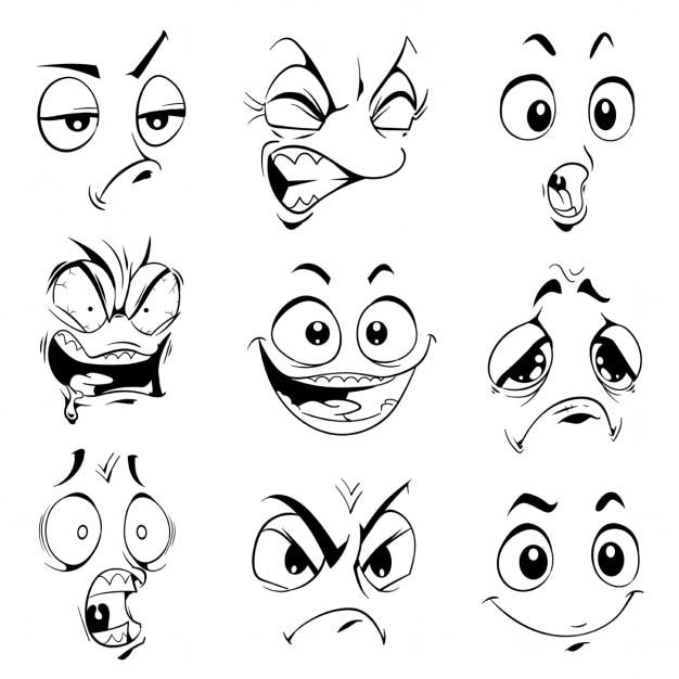 Смешные выражения вектор мультфильм изолированные элементы Бесплатные векторы