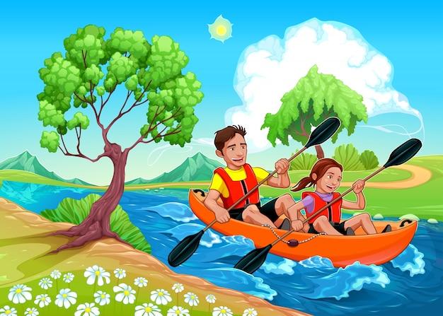 川ベクトル漫画イラストでカヤックの上の父と娘 無料ベクター