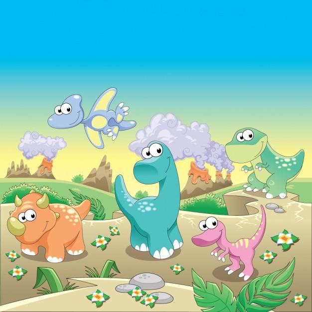 恐竜の背景デザイン 無料ベクター