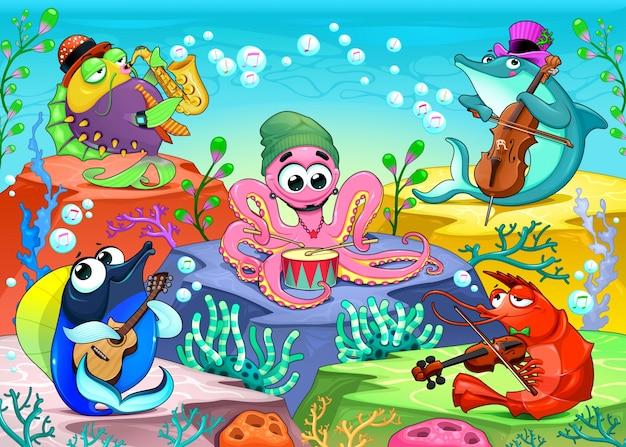 海のオーケストラ海洋動物のグループと笑い声の音楽シーンベクトル漫画の
