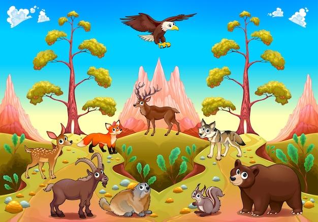 自然の中でかわいい山の動物ベクトル漫画のイラスト ベクター画像