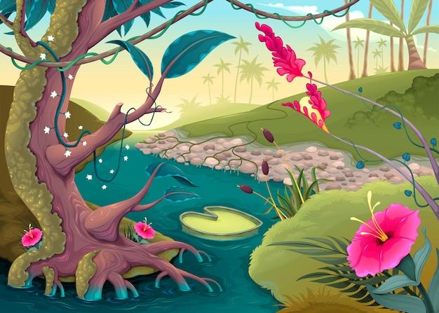 色とりどりの花と川で森を見る Premiumベクター