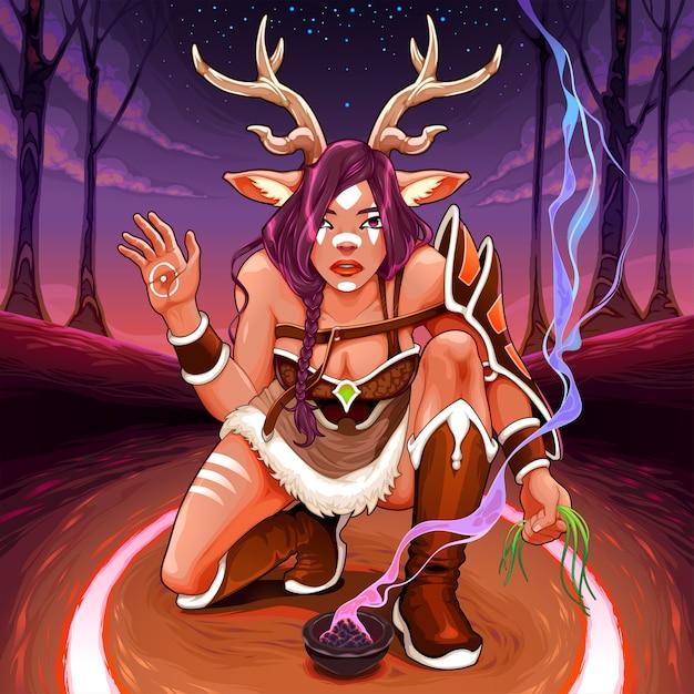 女性の子鹿は森の中で癒しの儀式をしています Premiumベクター