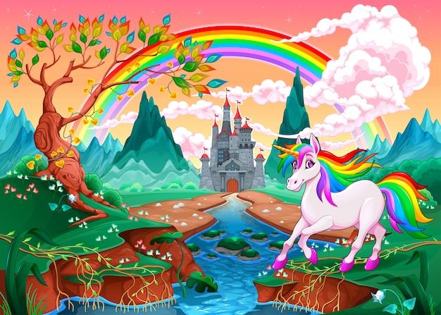 虹と城のある幻想的な風景の中のユニコーン Premiumベクター