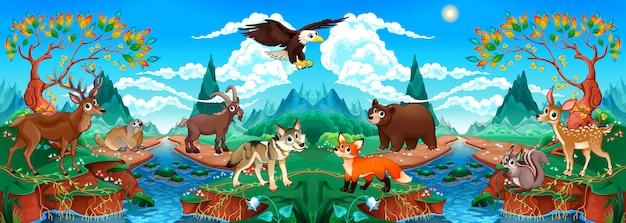 川と山の風景の中の面白い木の動物 Premiumベクター