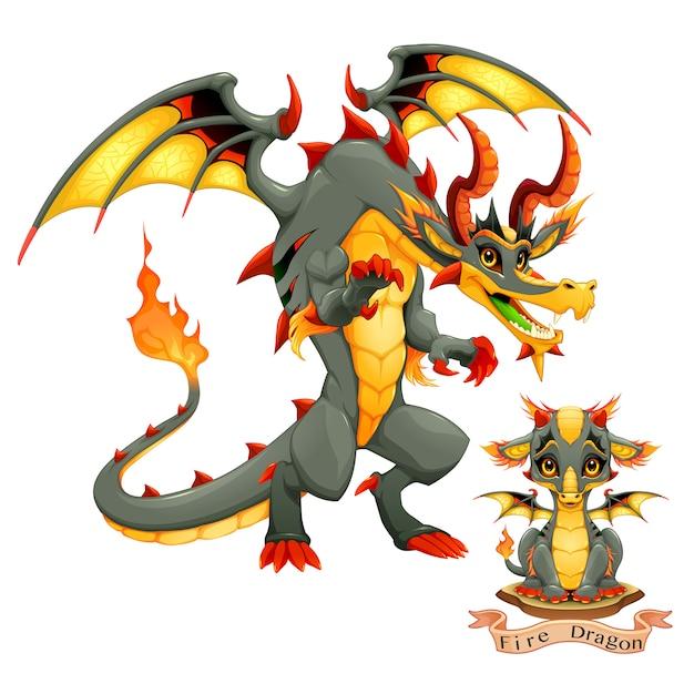 火の要素、子犬と大人のドラゴン Premiumベクター