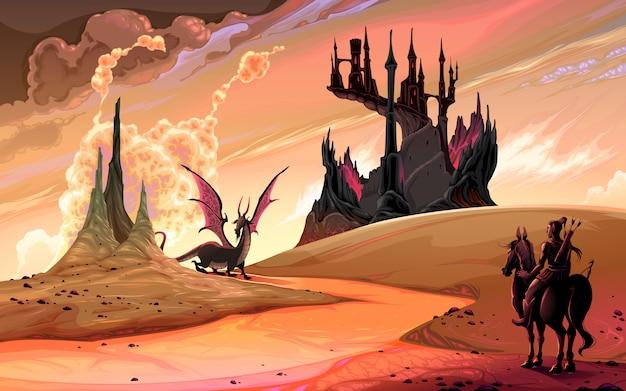 ドラゴンと馬の騎士 Premiumベクター