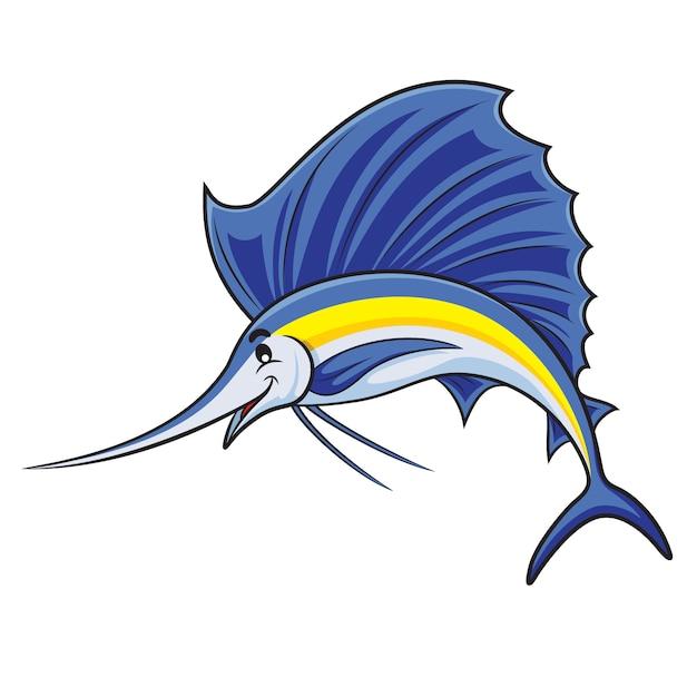 Мультфильм рыба марлин Premium векторы
