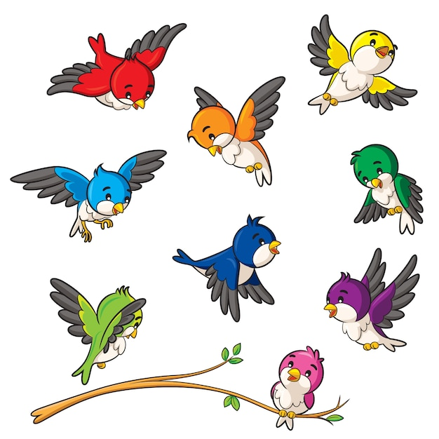 鳥の漫画 Premiumベクター