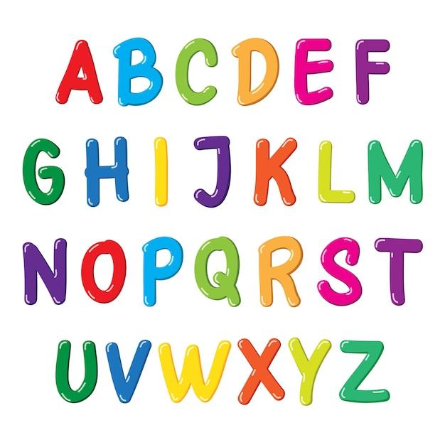 Красочный шрифт для детей Premium векторы