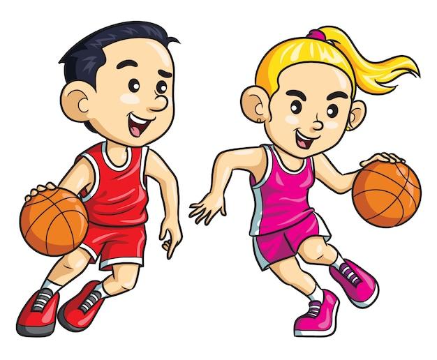 Баскетболист детский мультфильм Premium векторы