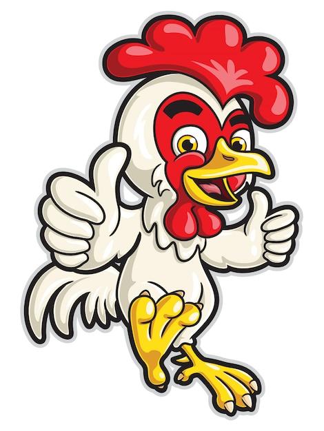 Цыпленок мультипликационный персонаж с двумя большими пальцами Premium векторы