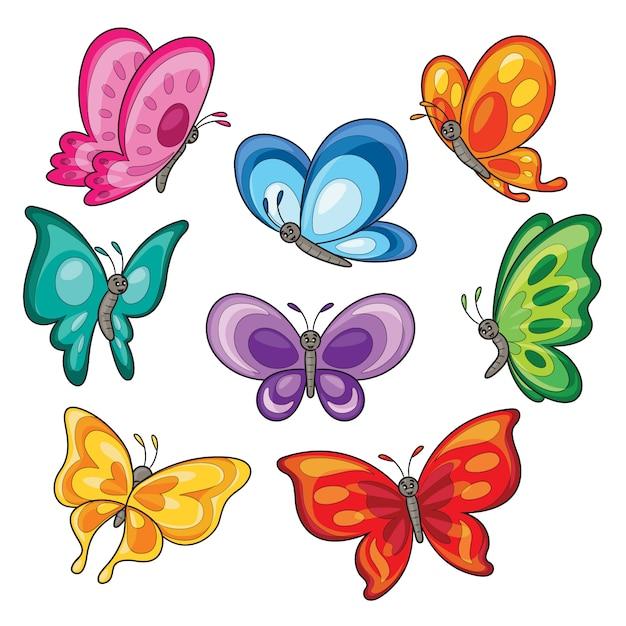 カラフルな蝶漫画のセット Premiumベクター