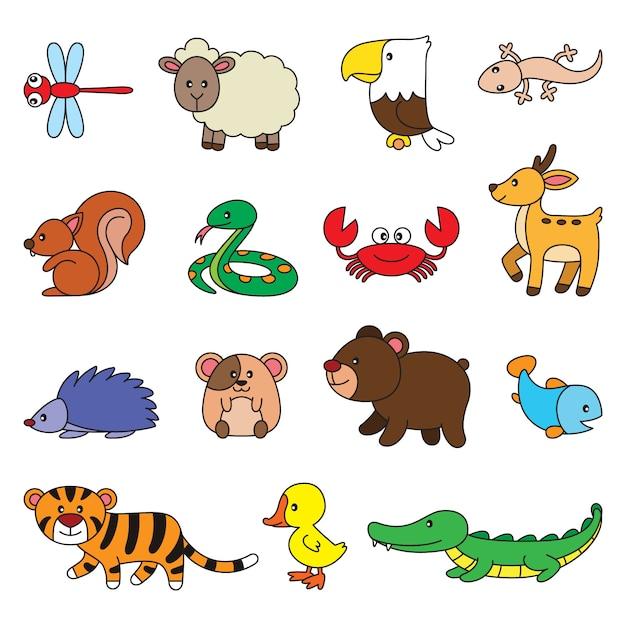 シンプルな動物漫画セット Premiumベクター