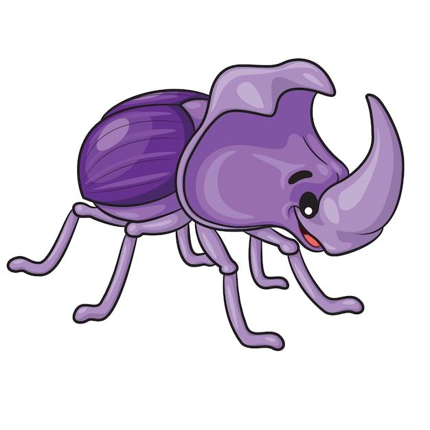 Мультфильм жук-носорог Premium векторы