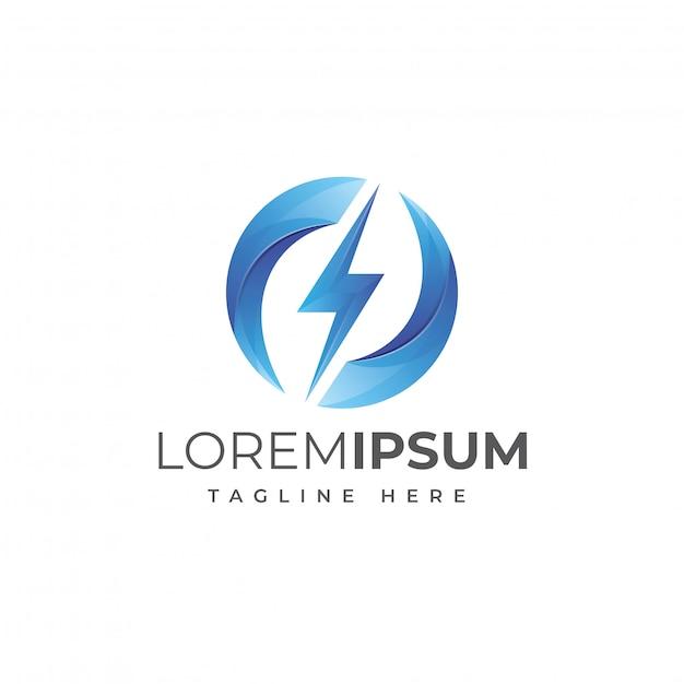 Молния энергия круг логотип вектор Premium векторы