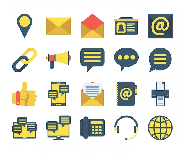 フラットスタイルのお問い合わせアイコンのシンプルなセット。場所、アドレス帳、メッセージ、サポートなどのアイコンが含まれています。 Premiumベクター