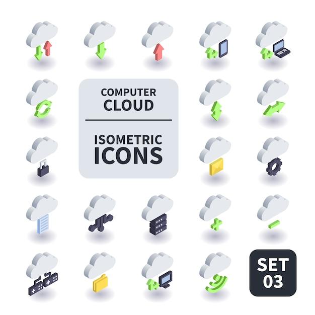 Простой набор компьютерного облака значок. Premium векторы