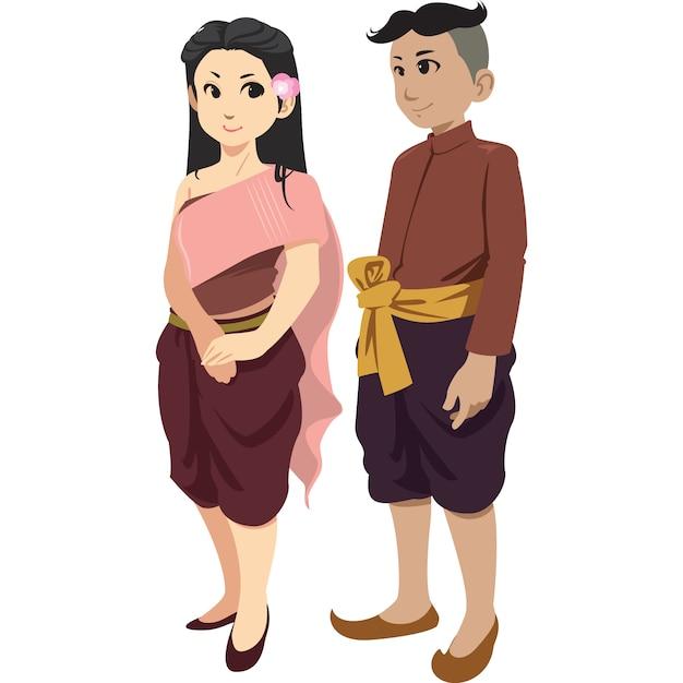 白い背景に分離された伝統的な服でタイの男女。 Premiumベクター