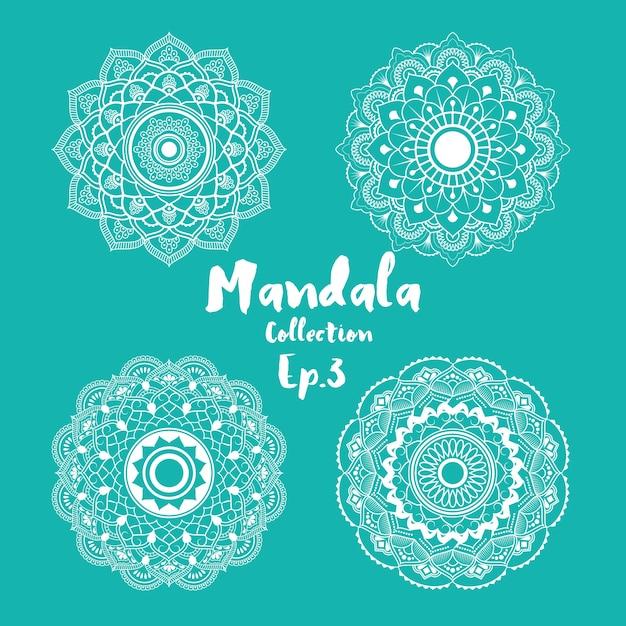 ページ、グリーティングカード、招待状、タトゥー、ヨガ、スパシンボルを着色するための曼荼羅の装飾と装飾のデザインのセット 無料ベクター