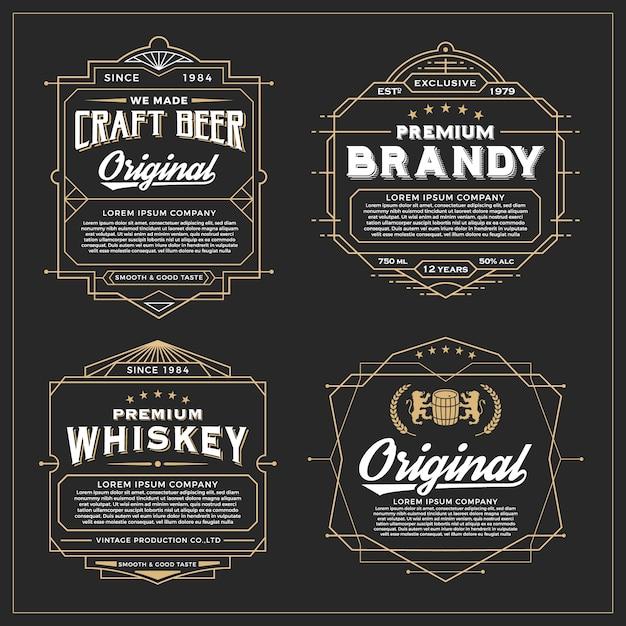 ラベル、バナー、ステッカー、その他のデザイン用のヴィンテージフレームデザイン。ウイスキー、ビール、プレミアム製品に適しています。 無料ベクター