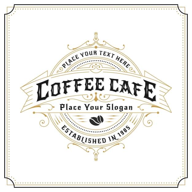 ラベル、バナー、ステッカー、その他のデザイン用のヴィンテージフレームロゴデザイン。コーヒー・カフェ、レストラン、ウィスキー、ワイン、ビール、プレミアム製品に最適 無料ベクター