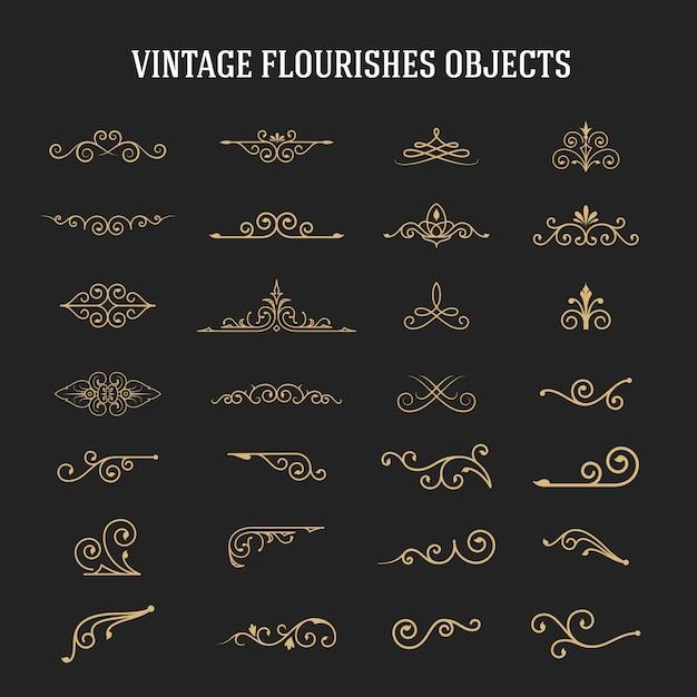 Набор старинных декоративных расцветок Premium векторы
